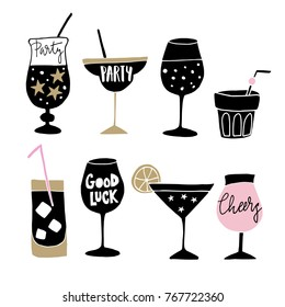 Set of hand drawn alcoholic drinks, cocktails with lettering quotes. Happy New Year celebration concept. Isolated vector icons.