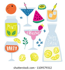 Set of hand drawn alcoholic and soft drinks, cocktails with lettering quotes. Summer holiday and beach party concept. Isolated vector icons.