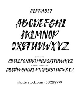 Cursive Typeface Set Of Hand Drawn Alphabet Letters Vector Ink Illustration