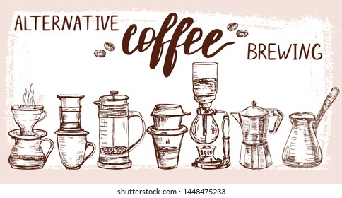 Set of hand drawn alternative coffee brewing items. Aeropress, pour over and other