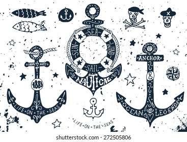 Set of hand drawn anchors with lettering