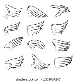 Set of hand drawn angel or bird wings. Monochrome drawing elements isolated on white background. Vector illustration.