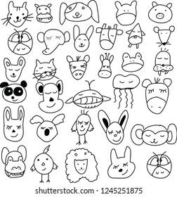 Set of hand drawn animals doodle for icon, banner. Cartoon sketch style doodle with cat,dog,frog,monkey, cow, penguin, owl, giraffe panda, bird. Vector illustration.