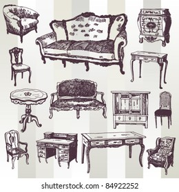 Set of Hand Drawn Antique Furniture