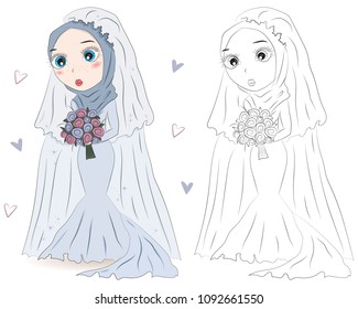 Set of hand drawn Arabic woman in wedding hijab on white background. Cartoon character in traditional Muslim hijab. Coloring book pages for kids. Outline for coloring page. Islamic Women in wedding dr