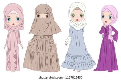 Set of hand drawn Arabic woman in hijab and Niqab on white background. Cartoon character in traditional Muslim hijab. Islamic Women in Niqab Style.