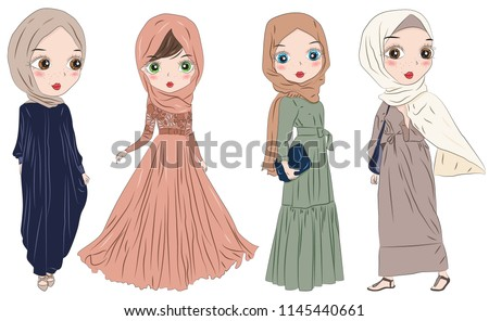 Set Of Hand Drawn Arabic Woman In Hijab And Niqab On White Background Cartoon Character Muslim