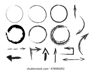 set of hand drawn  arrows and circles. vector  pencils design elements