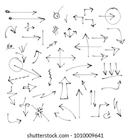 Set of hand drawn arrows. Different pointers.