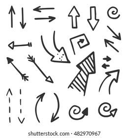 Set of hand drawn arrows vector icons, spirals, arrow circle, black plus white