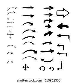 Set of hand drawn arrows. Vector illustration.