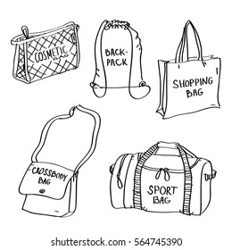 Set of hand drawn bags doodles isolated on a white background. Vector illustration of cosmetic bag, backpack, shopping, crossbody and sport bag.