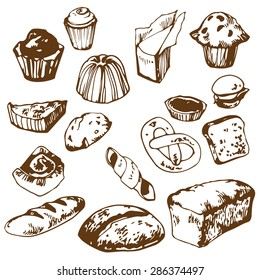 Set of hand drawn bakery. Bread, bun, pie, cupcake, cheesecake, pretzel, pudding, muffin. Isolated on white. Vector illustration