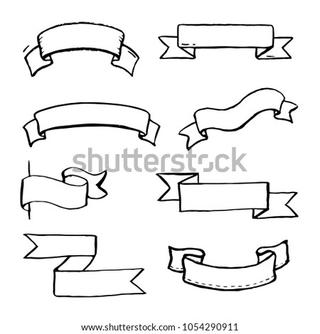 set hand drawn banner scroll elements stock vector royalty free