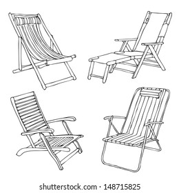 Set of hand drawn beach chairs