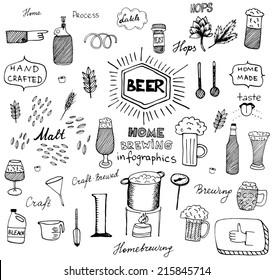 The set of hand drawn beer info graphics for your design. Home brewing, crafted beer. Black and white vector illustration.
