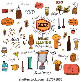 The set of hand drawn beer info graphics for your design. Home brewing, crafted beer. Colorful vector illustration.