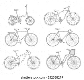 Set of hand drawn bicycles modern and retro style on white background. Different types: city, fix, highway, cruiser, sport, mountain bike. Outline illustration.