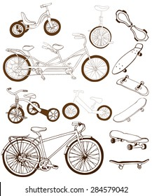 Set with hand drawn bikes, tandem bike, mono bike, run-bike, tricycle, skateboards on white background. Vector illustration