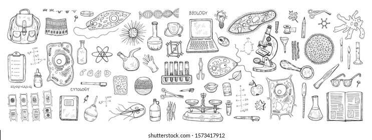 Set with hand drawn biology images. Science collection. Vector banner. May use as a coloring page