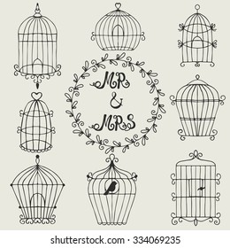 Set of hand drawn bird cages. Can use for invitation, cards and elements decor
