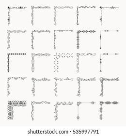 Set of Hand Drawn Black Doodle Outlined Corners. Vintage Decorative Design Elements, Floral Frame Corners. Sketched Vector Illustration.