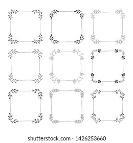 Set of hand drawn black squared frames. Wedding template. Isolated.