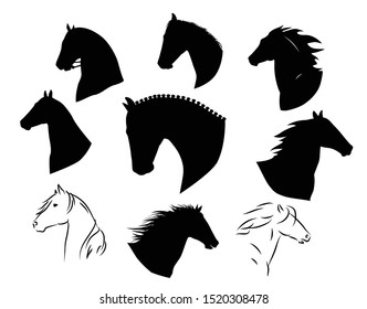Set of hand drawn black vector horses silhouettes.