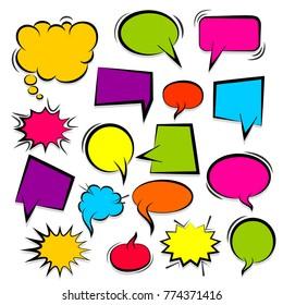 Set hand drawn blank template comic speech bubbles halftone dot background style pop art. Colorful dialog empty cloud, space text pop-art. Colored idea conversation comics book sketch explosion.