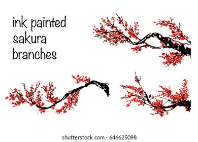 a set of a hand drawn blooming sakura branches; ink painting; black and red; a traditional oriental style sumi-e; vector illustration; isolated on white background; cherry tree twigs;