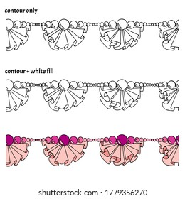 Set of hand drawn border with ruffles, frills, pearls and beads in three versions. Decorative isolated endless vector illustration