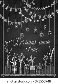 Set of hand drawn borders,garlands, jars, bottles with flowers. Chalkboard background. Lamps, lanterns, flags on swing. Plants. Used brushes included.