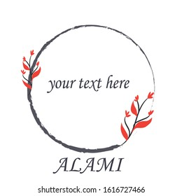 Set of hand drawn botanical element, natural, leaf icon and line art. Alami mean natural in indonesian language Hand sketched vector vintage elements laurels, leaves, flower frame. box oval