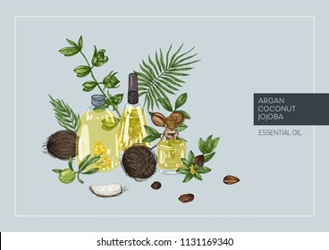 Set of hand drawn bottles with different cosmetic oils argan, coconut, jojoba. Cosmetic, perfumery and medical plant. Vector hand drawn illustration.