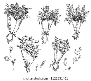 Set of hand drawn bouquets, vector sketch