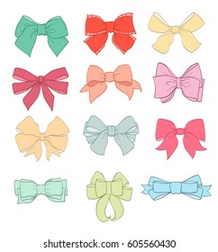 set of hand drawn bows on white. vector