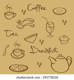 Set of hand drawn breakfast elements: teapot, cup, sandwich, muffin, coffee beans, cocktail, spoon and fork.