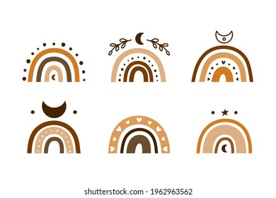 Set of hand drawn brown celestial bohemian rainbows with moon crescents, hearts, leafy branches isolated on white background. Boho chic silhouettes.