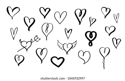 Set of hand drawn brush hearts. Big collection. Brush pen handwriting icons illustration. Vector ink eps 8, 10. Black on white. Modern unique style, different hearts.