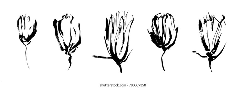 Set of hand drawn brush paint flowers painted by ink. Grunge style elements for modern design.  Black isolated vector on white background.