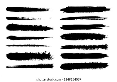 Set of hand drawn brush strokes. Textured Ink paint