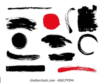 Set of hand drawn brushes and design elements in Japanese style sumi-e.  Artistic creative shapes. Vector illustration.