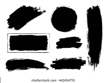 Set of hand drawn brushes and design elements.  black paint, ink artistic creative shapes. Vector illustration.