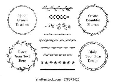 Set of hand drawn brushes and frames. Vector illustration.