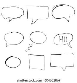 Set of hand drawn bubble speeches. Vector illustration