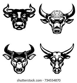 Set of hand drawn bull heads on white background. Design elements for emblem, sign, badge. Vector illustration