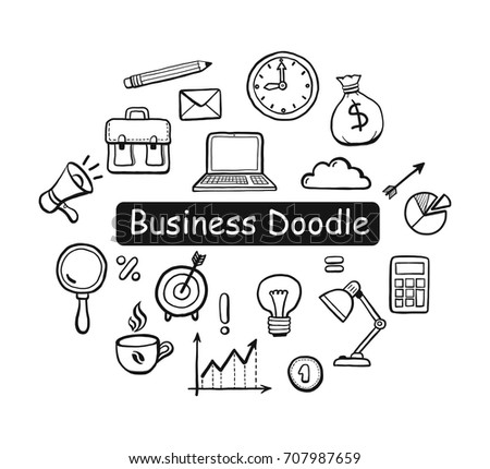 Set Hand Drawn Business Doodle Elements Stock Vector Royalty Free