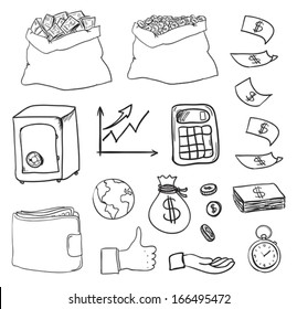 set of hand drawn business and finance elements