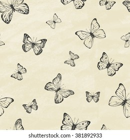 Set of hand drawn butterflies. Entomological collection of highly detailed hand drawn butterflies. Retro vintage style. Seamless pattern. Vector illustration.