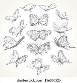 一套手绘蝴蝶。 铅笔素描。
